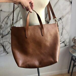 $168 Madewell Leather Medium Transport Tote Bag Crossbody Purse English Saddle