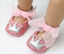 Newborn Baby Girls Crib Shoes Infant Birthday Party Princess Crown Laces Shoes