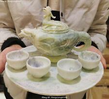 Natural Lantian Jade Carving Phoenix Fenghuang Wine Tea Pot Teapots Flagon Set