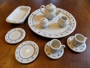 Longaberger Pottery Collector's Club Miniature Mini Tea Set & Casserole Dish