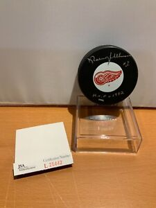 HOF Hockey Norm Ullman Autographed Red Wings Puck JSA Cert