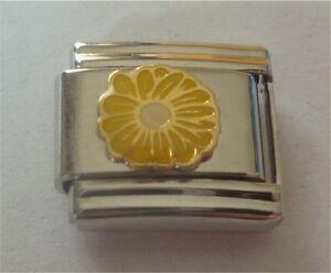 9mm Italian Charm E98 Yellow Daisy Flower Fits Classic Size Bracelet