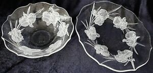 Vintage Glass Crystal Bowl and Platter with Frosted Iris Pattern 33 cm and 25 cm