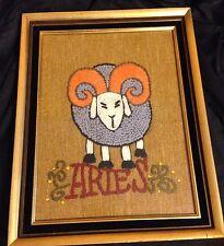 """Vintage Needlework Aires Zodiac Sign Modernist Mid Century Modern 15 X 19"""""""