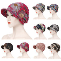 2019 Muslim Women Slouch Hat Brim Cap Headscarf Chemo Printed Hair Loss Bandanas