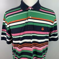 Brooks Brothers Men's Performance Polo Shirt Multicolored Stripes Size M