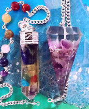 2 Large ORGONE DOWSING PENDULUMS, AMETHYST AND CHAKRA CRYSTAL With Pouches