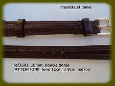 BRACELET MONTRE CUIR  boucle dorée  12mm  marron  REF.3501 extra long