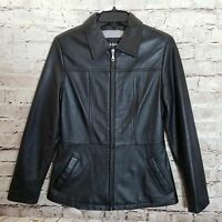 Wilsons Women's Leather Jacket Size S Zip-Up Flared Waist Front Pockets Black