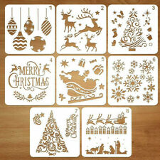 8pc Christmas Layering Stencils Embossing Template Painting Scrapbooking Decor
