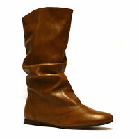 Ladies Womens New Soft Leather Mid Calf Low Flat Heel Slouch Boots Shoes Size