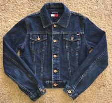 Tommy Hilfiger Womens Tommy Jeans Button Up Denim Jacket SZ S Flag Logo