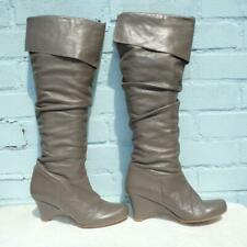 Topshop Leather Boots Size UK 6 Eur 39 Womens Pirate Pull on Wedge Brown Boots
