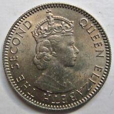 NICE MAURITIUS 1964 QUEEN ELIZABETH II 1/4 RUPEE COIN (KM# 36)