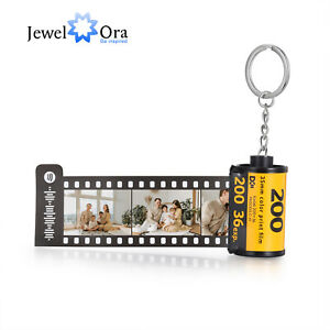 Love Music Keychain With Customized Camera Photo Film Roll KeyRing Gift For Her