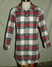 Womens VINEYARD VINES Red Green Jolly Plaid Flannel Lounge Sleep Dress Whale XXS
