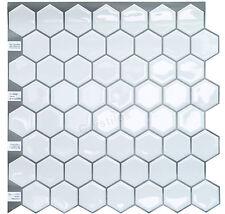 "Crystiles® Peel & Stick Tile, Hexagon White, Item# 91010839, 10"" X 10"", Set of 4"