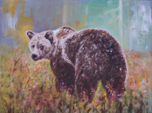 Linda Gulinson Grin and Bear It Grizzly Bear Original Oil Painting 30x40