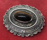 Vintage Sterling Silver Brooch Pin 925 Tigers Eye Pendant Necklace