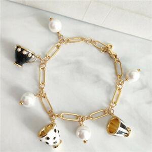 Kate Spade Tea Time 5 Teacups Set Black & White Enamel Gold Chain Bracelet