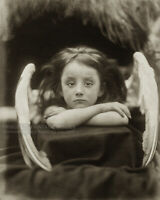 "Antique 1872 Photo ""I Wait"" Little Angel Girl Photograph Julia Margaret Cameron"