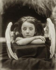 "Antique 1872 Photo ""I Wait"" Little Angel Girl Photograph Julia Margaret Cameron"