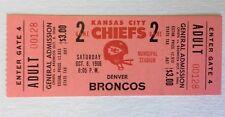 1966 Kansas City Chiefs vs Denver Broncos Full Ticket