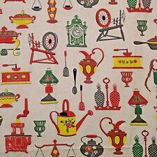 Vintage Kitchen Theme Fabric 3 Yards Mid Century Clock Lamp Kettle Lightweight