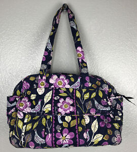 Vera Bradley Weekender Tote Shoulder Lined Purple Floral Zip Closure Diaper Bag