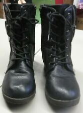 d294f3ce7a83 Bamboo Womens Black Faux Leather Lace Up Zipper Up Combat Style Boots