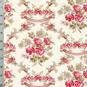 Ivory Floral Rose Damask Rhapsody of Red Cotton Quilting Fabric Wilmington