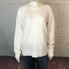 Tommy Bahama Womens White Knit Sweater L Cashmere Wool Blend Minimalist Cozy