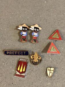 Job Lot Of 8 Vintage Enamel Badges Golden Shred Hillman Prefect