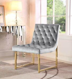 Iconic Home Moriah Accent Chair Tufted Velvet Upholstery Brass Frame in Grey