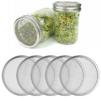 5x Stainless Steel Sprouting Lid Mesh Screen Strainers Filter for Wide Mason Jar