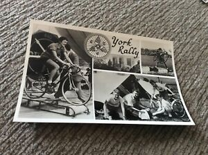REAL PHOTO POSTCARD,1960s, YORK RALLY,CYCLING,CAMPING,  nice card.