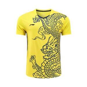 Li-Ning Sport Tops Men's Badminton T-Shirts Tennis clothes Print China Dragon