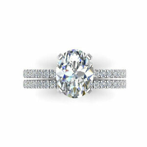 3.00 Carat Oval Diamond Engagement Band Set Solid 14K White Gold Size M1/2 N O P