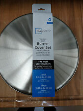 4  Stove Burner Covers polished  Stainless Steel  2 small 2 large