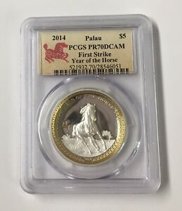 2014 Gilt PCGS Palau S$5 First Strike PR 70 Silver Coin