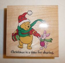 Christmas is a Time for Sharing Winnie the Pooh Piglet Wood Wooden Rubber Stamp