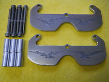 CNC POLISHED ALUMINIUM HEAD GUARDS PROTECTORS FOR MOTO GUZZI V7 ENGRAVED EAGLES