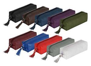 Genuine Leather Zipper Pencil Pen Case Glasses Case Cosmetic Makeup Pouch