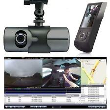 "2.7"" Dual lens Car camera Vehicle Digital recorder Dashboard DVR GPS G-sensor @T"