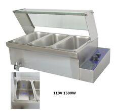 1500w 110v Electrics Stainless Steel 3 Pot Bain Marie Buffet Food Warmer 86 200