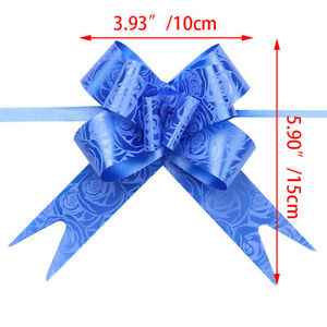 1/50/100X Ribbon Pull Bows Flower Wedding Car Gift Wrap Xmas Party Florist Decor