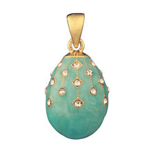 Faberge Egg Pendant / Charm with crystals 2.3 cm light blue #2-1504-10