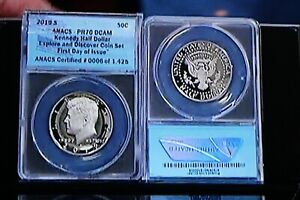 2019 S PR 70 DCAM Kennedy 1st Day of Issue and Explore and Discover Coin Set