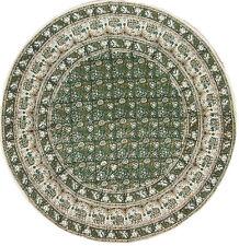 "Round Handblocked Jaipur Print Table Cloth - 72""  dia - Green -  FREE SHIPPING"