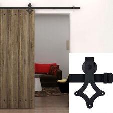 Home 6ft Steel Barn Wood Sliding Door Closet Hardware Track System Set Kit